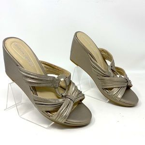 Andrew Geller Soft Gold Leather Wedge Sandals 7.5